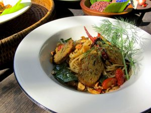 Thai sausage spaghetti with fried chillies